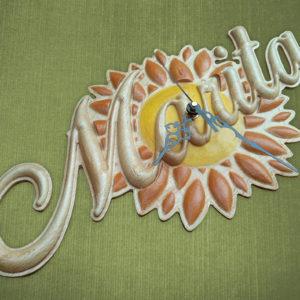 Orologio girasole in legno con scritta personalizzata
