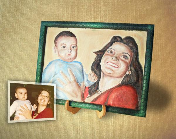 Ritratto 3d personalizzato in legno dipinto a mano