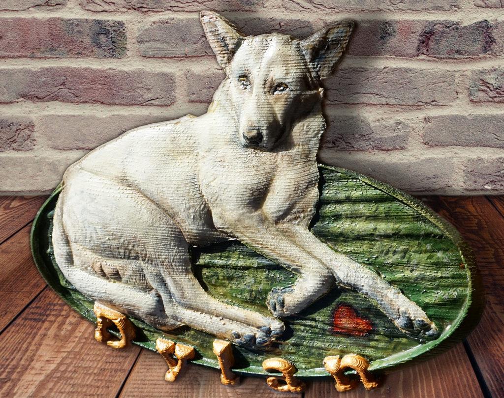 Ritratto personalizzato 3d di un bellissimo cane bianco di nome Dylan