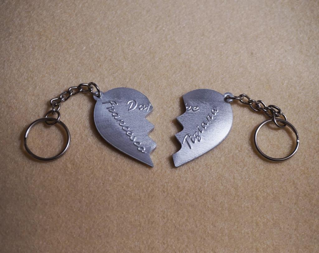 Portachiavi cuore spezzato in due metà personalizzato u arti inventive
