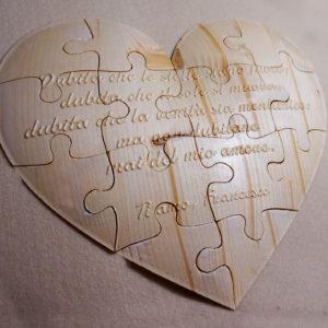 Puzzle cuore personalizzato in legno