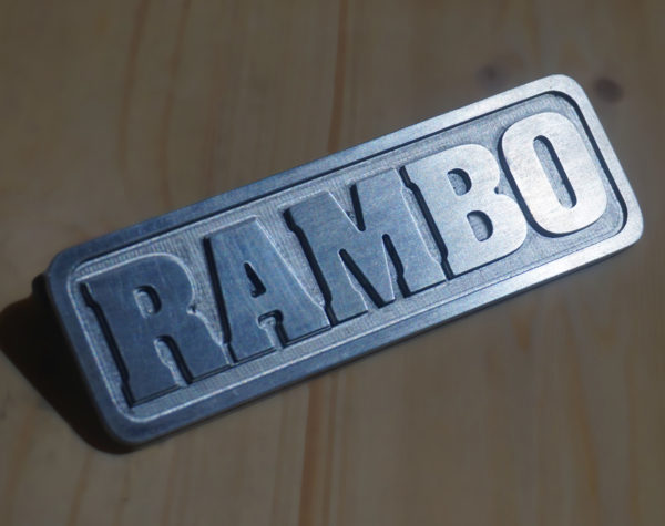 Aluminum plate with customized text in relief